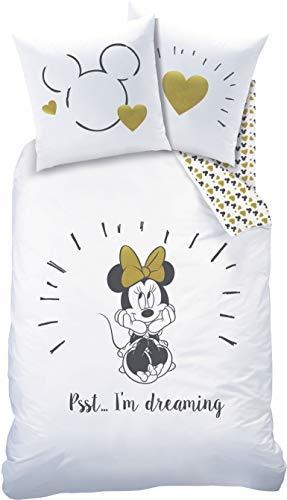 Disney Minnie Mouse Juego de ropa de cama · Ropa de cama infantil · 1 funda de almohada de 80 x 80 cm + 1 funda nórdica de 135 x 200 cm – 100% algodón