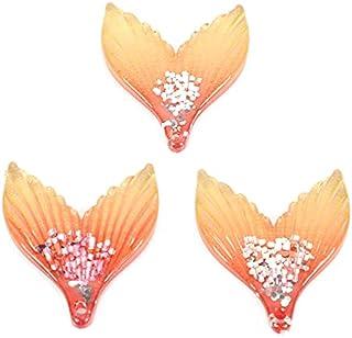 Lot de 10 cabochons en résine Kawaii à dos plat pour scrapbooking, décoration, loisirs créatifs (couleur : orange)