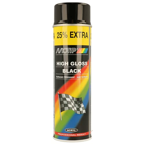 Motip m04001Spray de pintura de aerosol, Negro (High Gloss Black) , 500 ml