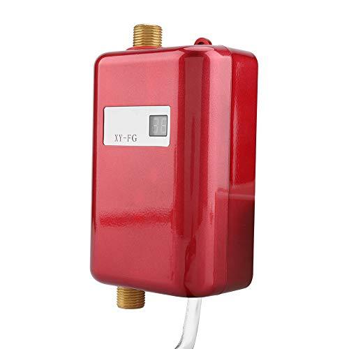 Elektrischer Durchlauferhitzer, 220V 3800W Mini-Durchlauferhitzer mit integriertem Temperatursensor für Dusche/Küche im Bad(rot)