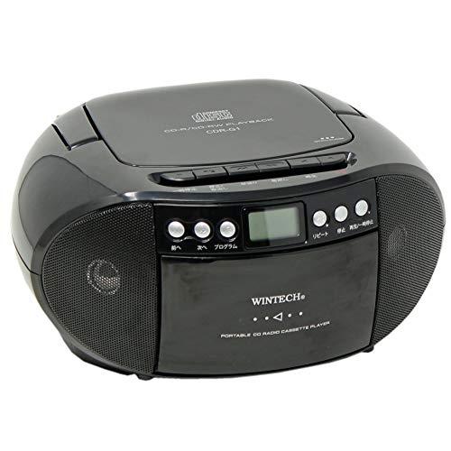 WINTECHコンパクトCDラジカセ(FMワイドバンド対応)ブラックCDR-G1