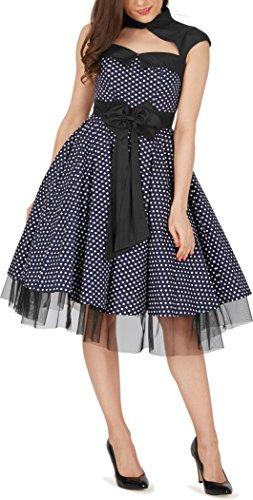 BlackButterfly 'Athena' Polka-Dots Kleid mit großer Schleife (Nachtblau, EUR 50-4XL) - 7