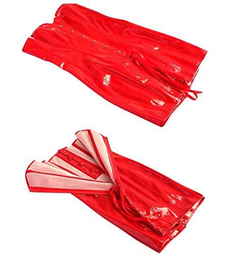 Wonder Pretty Women Faux Leather Corset Dress Sexy Wetlook PVC Steampunk Gothic Strapless Bustier Dress XX-Large Red steampunk buy now online