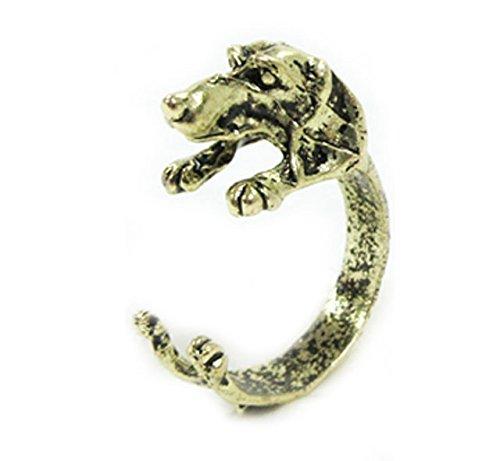 ミニチュアダックスフンド 犬のリング(指輪)ゴールドorシルバー アクセサリー (ゴールド)