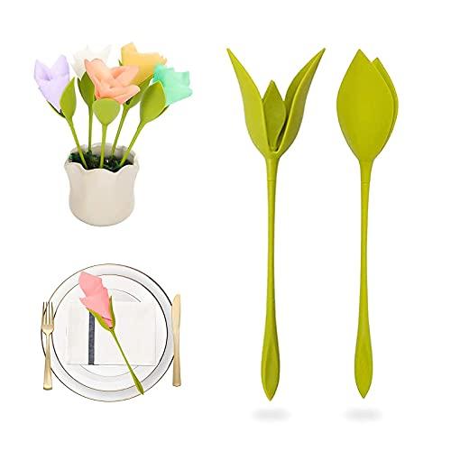 12 Piezas Servilleteros Bloom, Servilletero de Plástico Servilleteros de Flores de Bloom Soportes de Flores giratorias en Forma de Tallo Verde para Decoracion de Mesa de Fiesta Familiar