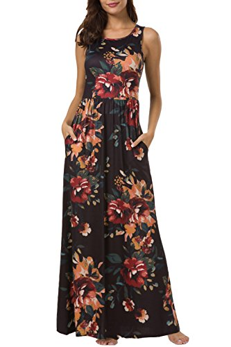 Zattcas Maxi Dresses for Women,Womens Crew Neck Sleeveless Summer Floral Maxi Dress with Pockets,Black Multi,X-Large
