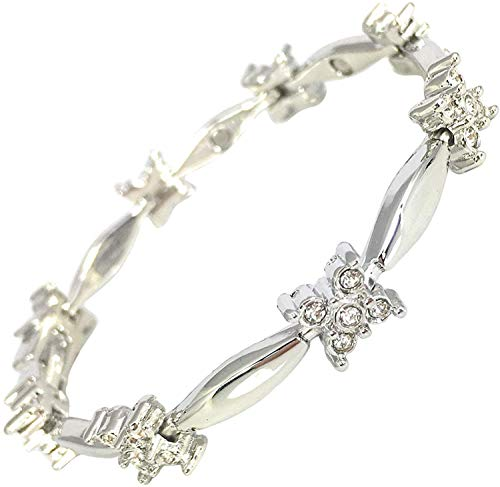 Helena Rose Ladies Magnetic Bracelet for Women - Sparkling Clear Crystals - Natural Menopause Relief - Pain Relief for Migraine Arthritis Anxiety Stress - Plus Jewellery Gift Box