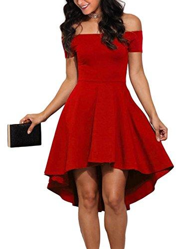 Sidefeel Women Off Shoulder Short Sleeve High Low Skater Dress Medium Bright Red