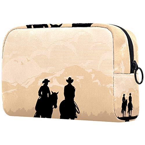 TIKISMILE Cowboy Couple Riding Horses Large Makeup Bag Toiletry Bag Travel Cosmetic Bag Portable Makeup Pouch for Women Girls