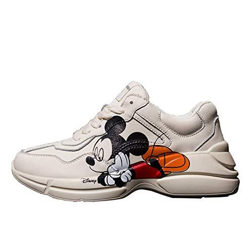 IDE Play Damen Sommer-Breathable-Walking-Schuhe Sneaker Slip on Lauf Leichte Tennis-Turnschuhe für Gym Reisen Jogging Arbeit,Mickey Mouse,36