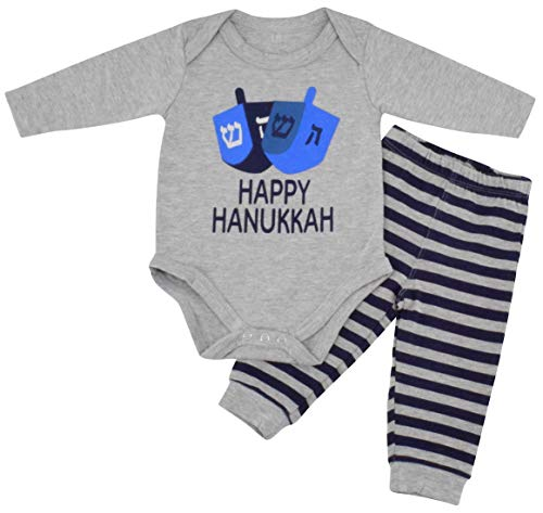 Unique Baby Boys Happy Hanukkah Layette Outfit Set Cap (6 Months) Grey