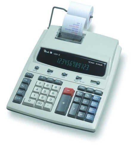 Peach PR671 Druckender Tischrechner, 12-stellig, Netzadapter eingebaut