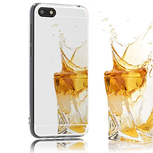 NALIA spiegelhoes compatibel met Huawei Y5 (2018), Ultra-Slim Mirror Case Cover Silicone beschermhoes, dunne telefoonhoes Backcover spiegel, mobiele telefoon tas Smart-Phone Etui