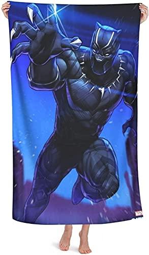 NBAOBAO Black Panther - Toalla de playa Superhero Black Panther de microfibra, impresión digital 3D, lavable a máquina (Panther-3, 80 x 130 cm)