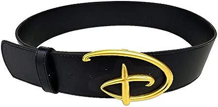 Disney Belt, Signature D Logo Gold Cast Buckle Black, Vegan Leather Belt