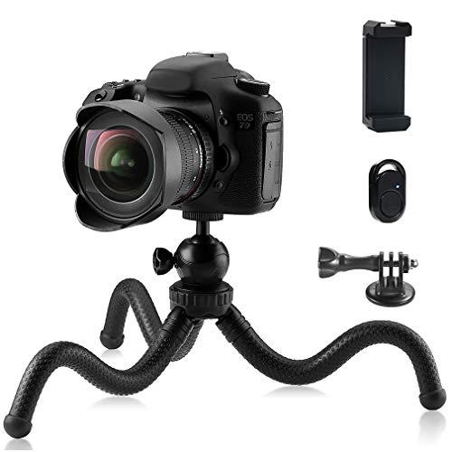 Phinistec 30cm Mini Treppiede Smartphone Flessibile Cavalletto per Cellulare, iPhone, Fotocamera, Gopro con Supporto Telefono e Telecomando Bluetooth per Foto e Video