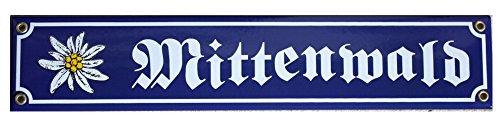 Mittenwald mit Edelweiß Emaille Schild Bayern 8 x 40 cm Emailschild.