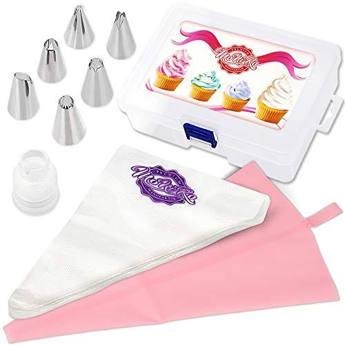 MoNiRo 108 TLG. Profi Spritztüllen Set aus Edelstahl zum Torten und Cupcake verzieren - 6 Edelstahl Tüllen | 1 Adapter für Spritzbeutel | 1 Silikon Spritzbeutel | 100 Spritzbeutel groß