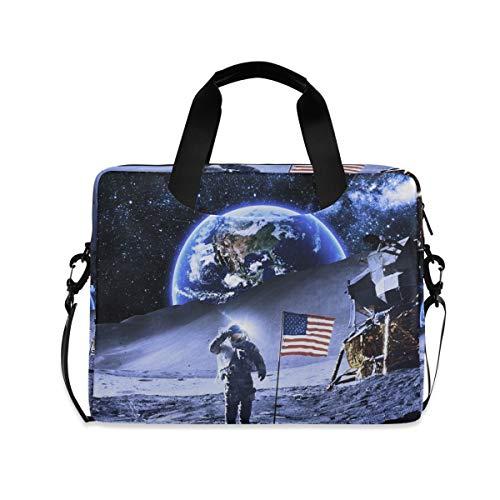 XIXIKO Universum NASA Laptoptasche mit amerikanischer Flagge, erweiterbarer Trolley, Aktentasche für Damen und Herren, mit abnehmbarem Gurt für Arbeit, Reise, Büro, iPad, MacBook