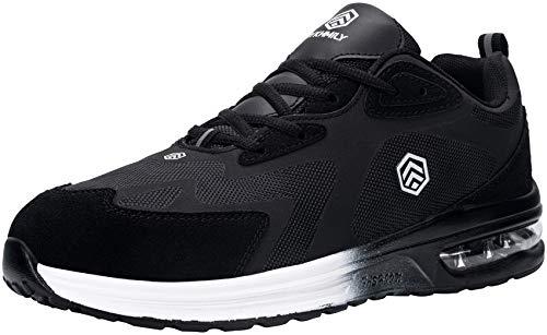 Fenlern Zapatillas de Seguridad Hombre Respirable Colchón de Aire Zapatos Zapatos de Trabajo con Punta de Acero Calzado de Seguridad Deportivo(Negro de carbón,44)