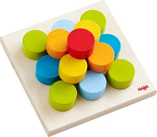 HABA 303709 - Steckspiel Kunterbunte Welt | Sortierspiel mit 5 Motivkarten und 10 bunten Motiven zum Zuordnen und Farben lernen | Spielzeug ab 12 Monaten