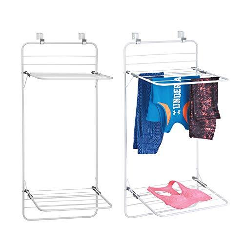 mDesign Juego de 2 tendederos para colgar en la puerta – Colgadores de ropa en metal y plástico con 2 estantes para ahorrar espacio – Prácticos secadores de ropa para baño o lavadero – blanco/gris