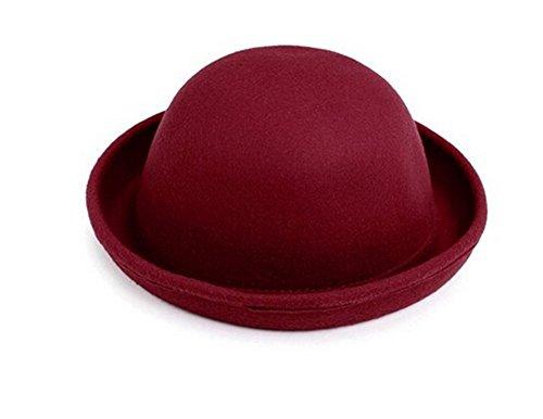 TININNA Vintage Vintage Mujer Sombrero Hongo Gorra Bombín con Visera Curvada Bowler Hat tamaño Adulto 57cm Rojo Oscuro