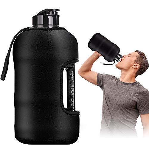 Kaptron Gym Water Bottle with Case - Bodybuilding Water Bottle - Strong Durable 2.2 Litre Water Bottle with Handle - BPA Free Large Half Gallon Sports Water Bottles (Black)