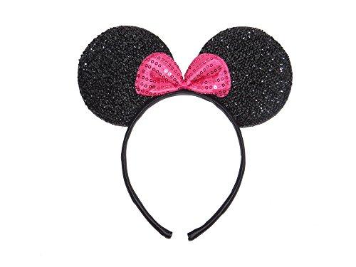 Orejas de Minnie Mouse, con purpurina, y excitante lazo rosa – negras – Fiesta de despedida de soltera – con diadema para colocar en la cabeza – para niños y adultos