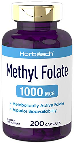 Methyl Folate 1000 mcg | 200 Capsules | 5-MTHF | Folic Acid Supplement | Non-GMO, Gluten Free Methylfolate | by Horbaach