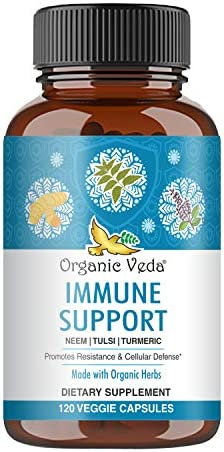 Organic Veda Immune Support Capsules 120 Veggie Ayurveda Backed Potent Botanical Formula Made product image