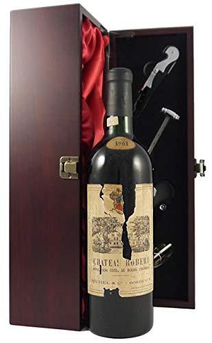Chateau Robert 1961 Bordeaux in einer mit Seide ausgestatetten Geschenkbox, da zu 4 Weinaccessoires, 1 x 750ml
