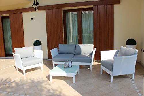 MilaniHome Salón de jardín Set de Aluminio de 2plazas Color Blanco para Exterior de jardín Porche terraza Locales Bar pastelerías