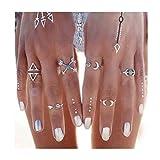 Iyou - Set di anelli in stile boho, turchese, argento con luna e nocche, impilabili, triangoli, per donne e ragazze (6 pezzi)
