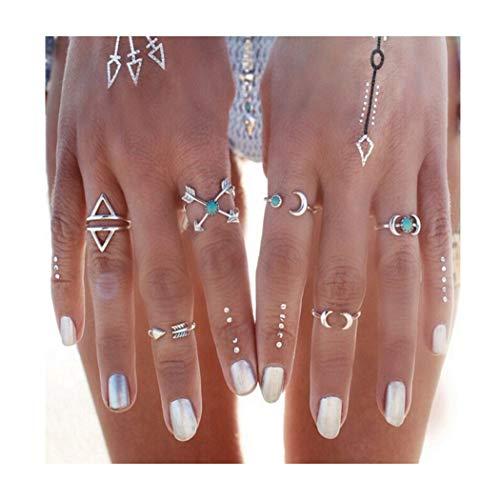 IYOU Boho - Juego anillos plata forma flecha triángulo