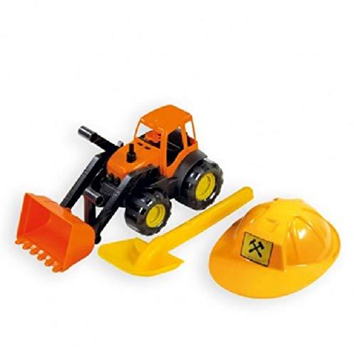 Mochtoys Spielzeug Set 10593 Bagger orange mit Helm und Sandschaufel in gelb