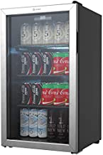 Vremi 130 Can Beverage Refrigerator and Cooler - 3.6 cu. ft, Capacity Mini Fridge with Glass Door for Soda Beer or Wine - Small Drink Dispenser Machine for Office or Bar with Removable Shelves