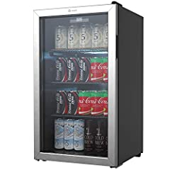BEVERAGE COOLER with MODERN STYLISH DESIGN - 3.6 cubic feet, free standing beverage cooler has an elegant see-through, reversible triple-pane glass door with a sophisticated stainless steel frame and soft white backlit LED lighting for more convenien...