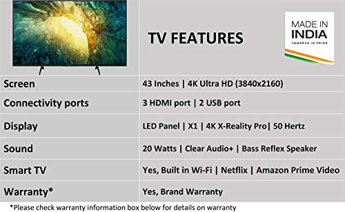 Sony Bravia 108 cm (43 inches) 4K Ultra HD Certified Android LED TV 43X7500H (Black) (2020 Model)