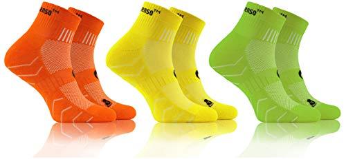 Sesto Senso Calcetines Deporte Colores Mujer Hombre Algodón 3-6 Pares Amarillo Verde 39-42 3 Pack Naranja