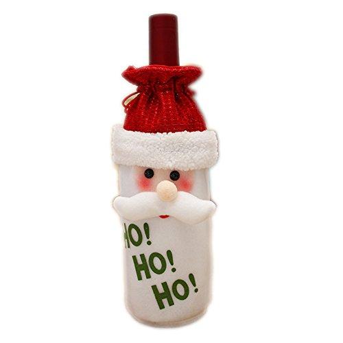 DaoRier 1× Noël Bouteille de Vin Rouge Sac Housse Table Party Decor de Table-Housse de Bouteille de Vin pour Décoration Cadeau de Noël-Père Noël