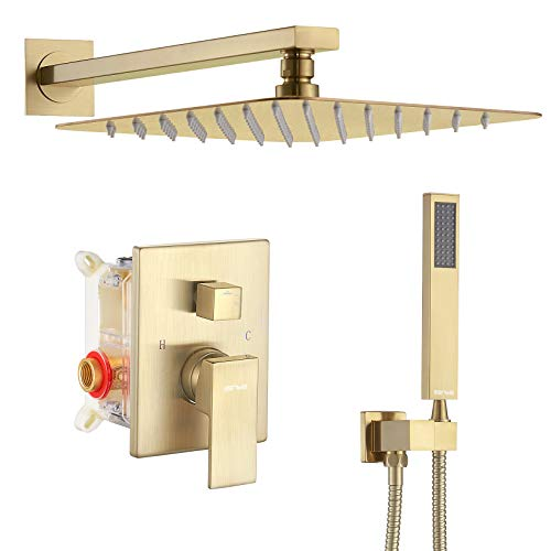 ESNBIA Shower System, Brushed Nickel Shower Faucet Set with Valve and 12' Rain Shower Head Systems...