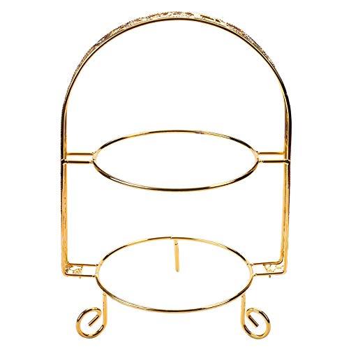 CKMSYUDG - Alzata per torte in metallo a doppio strato, a forma di arco, per dessert, matrimonio, compleanno, decorazione per cupcake, colore: Oro
