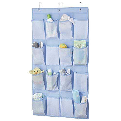 mDesign Estantería de tela colgante con 16 bolsillos profundos – Sistema de almacenamiento para calzado, accesorios y ropa para niños – Estantes de tela para la habitación infantil – azul