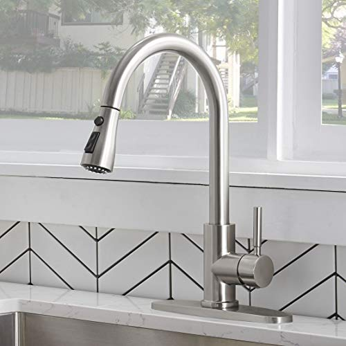 IKEBANA Brushed Nickel Single Handle Kitchen Faucet,Stainless Steel Pull Down Gooseneck Kitchen Sink Faucet,Best Modern One Or Three Hole High Arc Faucets with Pull Out Sprayer (1 or 3 hole)