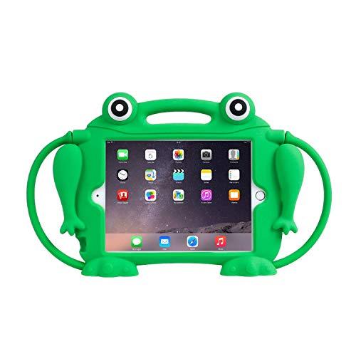 CHIN FAI Funda para niños para iPad Mini 1 2 3 4 5 [Rana reventadora] Funda Protectora de Silicona a Prueba de Golpes Soporte para Apple 5th Generation y iPad Mini con Pantalla Retina(Verde)