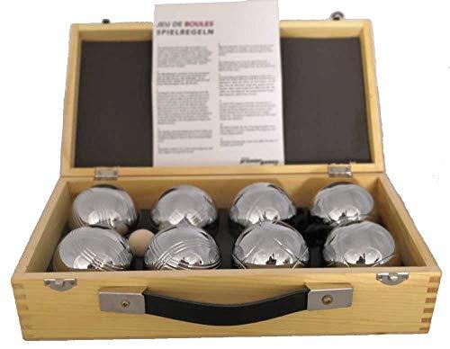 Premiergames Boulekugel-Set - 8 Stück im Holzkoffer Classic inkl. einem Magnetkugelheber am Band
