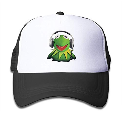 Yuanmeiju Kinderdruck Trucker Caps Kermit Der Frosch Sporthut für Jungen Travel Outdoor Hüte verstellbar 50-55cm Schwarz