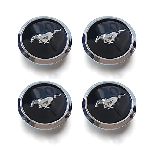 HUAXIA 9 Pcs Car Wheel Center Cap Fit Mustang - 4 Pcs 2.65inch(67.3mm) Clip-on Emblem for Mustang Matching with Keychain and 4 Pcs Tire Valve Stem Caps for Mustang (Silver Cap for Mustang Big)