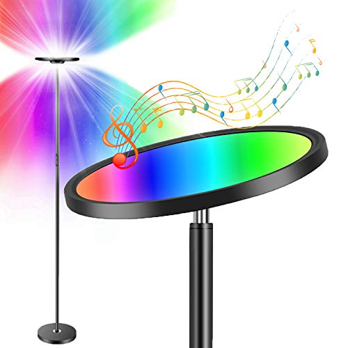 Boxlood Smart Floor Lamp Works with Alexa Google, 25W 2000LM Super Bright Sky LED Torchiere Smart Lamps, 66 in, 16 Million RGBCW Color Changing, DIY Scenes, Dimmable, for Living Room Bedroom Office